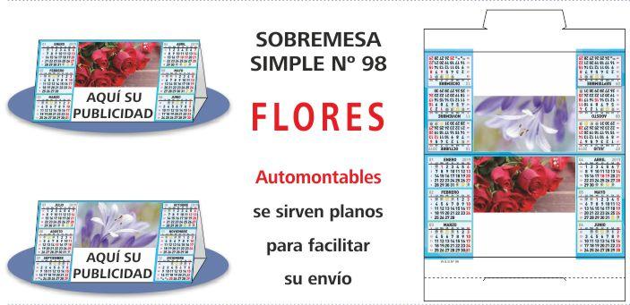 Calendario Sobremesa Simple 2019 FLORES